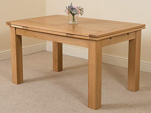 Richmond 140cm - 220cm Oak Extendable Dining Table for 6-8 People | Kitchen Dining Table Oak by Oak Furniture King