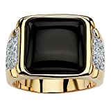 Palm Beach Jewelry Men's 14K Yellow Gold Plated Natural Black Onyx and Round Cubic Zirconia Cabochon Ring Size 8