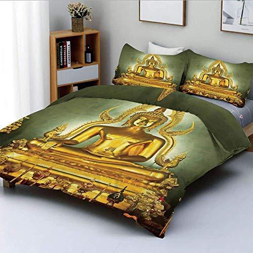 Duvet Cover Set,Golden Statue on Throne Meditation Nirvana Pray Indian Classic Art Home Decorative Image Decorative 3 Piece Bedding Set with 2 Pillow Sham,Golden Navy,Best Gift