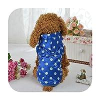 ポータブル犬レインコート防水犬子犬ドットコート犬レジャーパーカーアパレルレインコートジャケットペットの小型犬-Blue-L