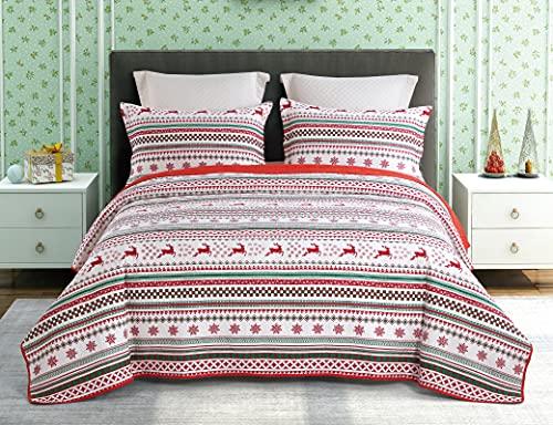 ENCOFT Quilt 3 Teilig Tagesdecke Kinder Baumwolle Bettüberwurf Steppdecke Patchwork Bettdecke(230 x 250 cm, Gruen)