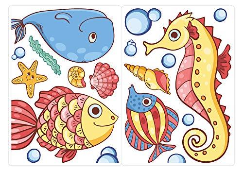 dekodino® Fenstersticker Kinderzimmer Seepferdchen Fisch