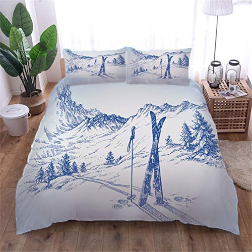 AOUAURO Super king Duvet Cover Set Sketch ski resort 3D Printed Quilt Cover Bedding Set with Zipper Closure in 100% Polyester for Children Kids Teens Adults 1 Quilt Cover 2 Pillowcases 260x220cm 3PCS
