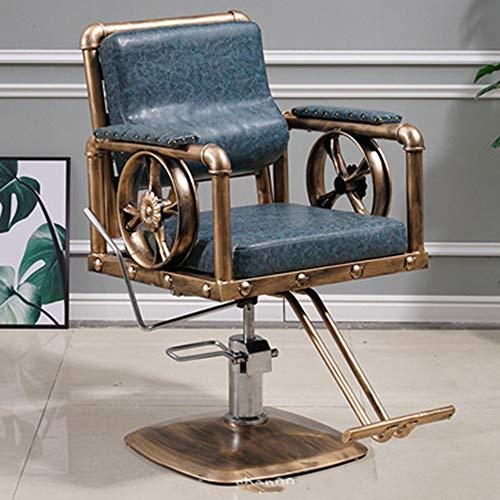 DNNAL Barber Shop Presidente, Multifunción hidráulica reclinable Silla de Peluquero, Respaldo Silla Especial Hair Salon,Azul