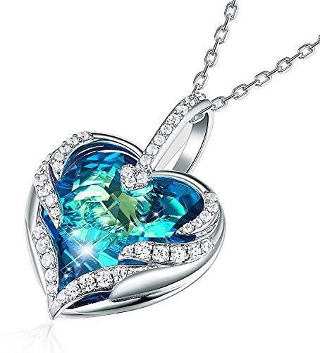 """CRYSLOVE Cadeau de fête des Mères Haloween""""Coeur d'Océan"""" Collier Femme Bijoux Bleu Cristal Coeur Pendentif Collier Maman"""