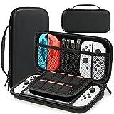 HEYSTOP Funda Compatible con Nintendo Switch y Switch OLED, Funda de Viaje para Nintendo Switch con Más Espacio de Almacenamiento para 8 Juegos, Funda para Nintendo Switch Console & Accesorios (Negro)