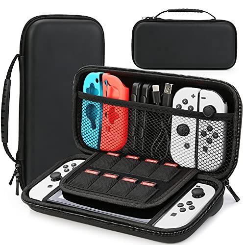 HEYSTOP Tasche Kompatibel mit Nintendo Switch/Switch OLED, Nintendo Switch/Switch OLED Tragetasche mit Mehr Platz, Schutzhülle Hülle Case für Nintendo Switch Zubehör ,Schwarz