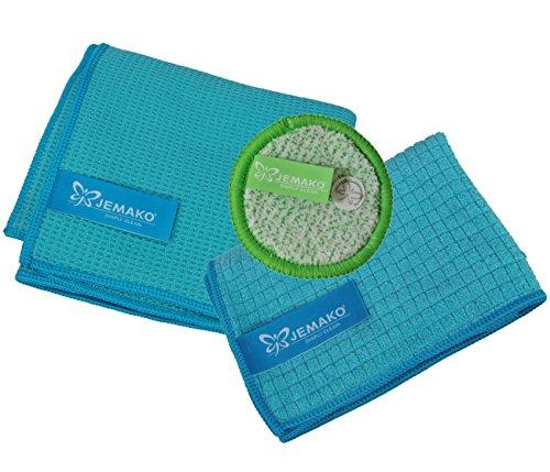 JEMAKO 3er Set Trockentuch mittel 45x60 cm Profituch klein 35x40 cm Duopad grün mini Ø 9,5 cm (Türkis)
