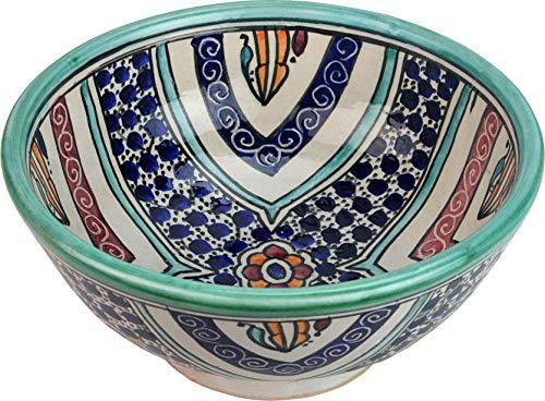 Cordoba - Ciotola in ceramica dipinta a mano in stile marocchino, rotonda, dipinta all'interno, di 20 cam, altezza 10 cm