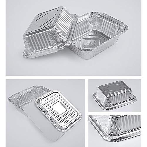51PyCbXdS0L - WYXR Aluschalen Mit Deckel Einweg Brotdose, Einweg Rechteckige Umweltfreundliche Aluminiumfolie Papier, Grillzubehör,Ideal Zum Backen, Braten Und Kochen,Aluminumcover1000