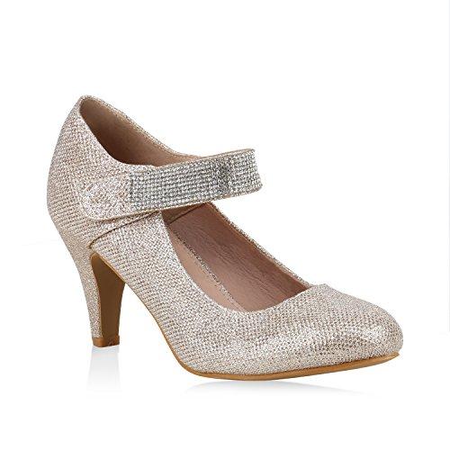 Damen Pumps Mary Janes Glitzer Strass High Heels Party Schuhe Gold Strass 37 Flandell