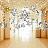 60 Decoraciones Remolino Colgantes de Copo de Nieve Navidad Serpentinas Espirales para Suministros de Fiesta Navidad, Adornos Techo de Aluminio para Decoración Fiesta de Vacación Invierno Navidad