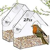 Window Bird Feeder, Hanging Strong Suction Cups Wild Bird Feeders Outside for Hummingbird Finch Chickadees Cardinals Bluebirds Songbirds Bird House