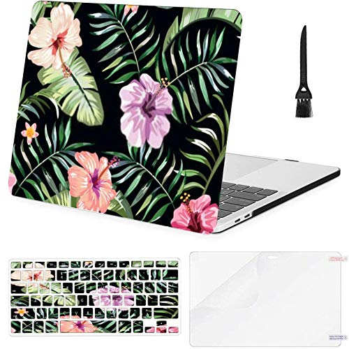 Macbook Pro13'Retina (2012-2015) With Display,1502,A1425 Case,Plastic Floral Exotic Tropical Seamless Pattern Tropic Hard Shell Case With Keyboard Cover & Screen Protector & Cleaning Brush