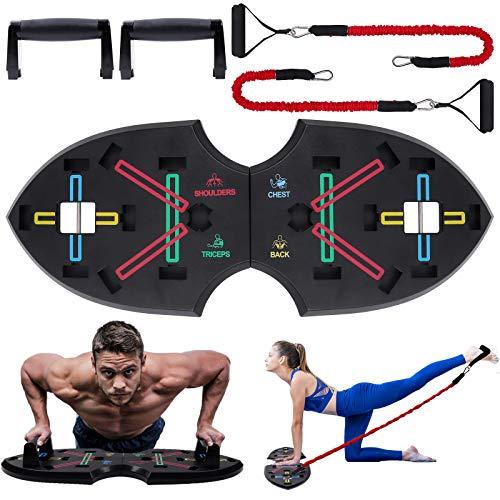 Push Up Rack Board, 12 in 1 pieghevole multifunzionale per allenamento a casa Attrezzature per il fitness, Telaio per allenamento push-up portatile, usato per uomini Donne per allenamento a casa