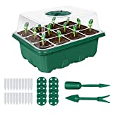 SunArea 10-Pack Seed Starter Tray, 120 Cells Indoor Plant Seed Starter Kit, Plant Germination Kit with Humidity Dome and Base, Greenhouse Grow Trays for Seeds Growing with Plant Tags Hand Tool Kit