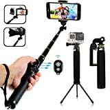 Bluetooth Selfie Stick, LENDOO Extendable Monopod with Tripod Stand for iPhone 7/7plus/6/6 Plus iOS, GalaxyS8/S7/S6/Edge, Android Smartphone, Gopro Hero 5/4/3/3+/2, DSLR and 1/4 Compact Camera