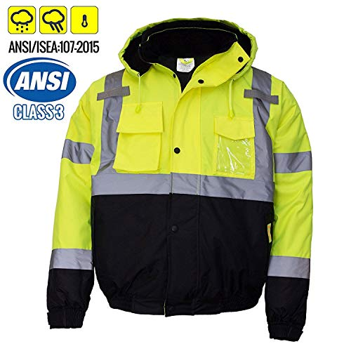 New York Hi-Viz Workwear WJ9012-3XL Men's ANSI Class 3 High, Lime, Size 3.0