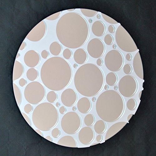 DECOHOGAR.SHOP Miroir Mural Rond - Bulles Petites - 40 x 40 cm - Laqué Blanc