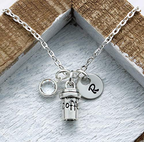Coffee Cup Necklace - Personalized Birthstone & Initial - Coffee Jewelry - Coffee Themed Gifts