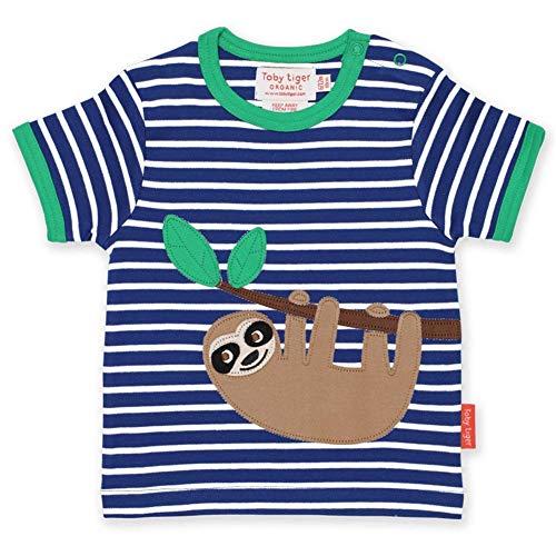 Toby Tiger Organic T-Shirt Sloth Applique 3-6 Months Blue