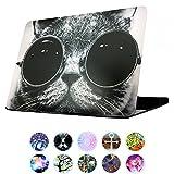 AUSMIX - Funda para MacBook Air de 13 pulgadas, diseño de animales de dibujos animados de plástico duro liso de goma para MacBook Air de 13,3 pulgadas (modelos: A1369/A1466) - Gato en gafas de sol