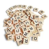 300PCS Scrabble Letters,DIY Wood Gift Decoration,Making Alphabet Coasters and Scrabble Crossword Game