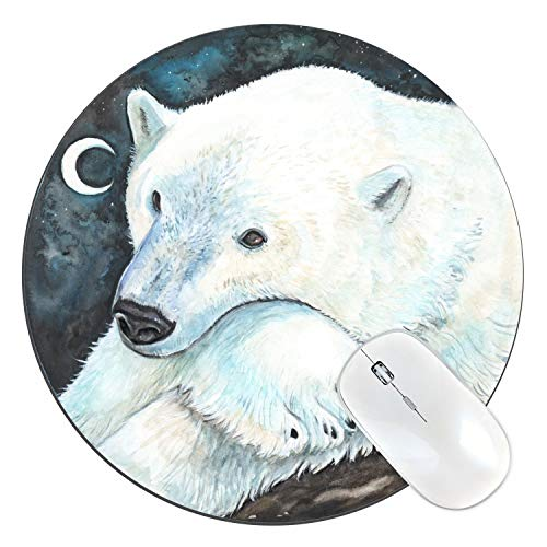 FannyD Polar Bear Watercolor Art Round Mouse Pad, 8' Diameter Low Profile (1/8') with Anti Slip Rubber Backing & Cloth Surface Featuriny Fanny Dallaire. for PC, Laptop, Mac (Polar Bear)