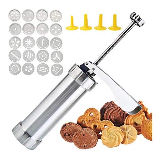 Gqavril12 Gebäckpresse Cookie Press Cookie Maker Press Keksherstellung Kekspresse Edelstahl Gebaeckpresse Zuckerguss Set Zur Herstellung köstlicher Kekse Mit 20 Backformen und 4 Düsen 25 Stück