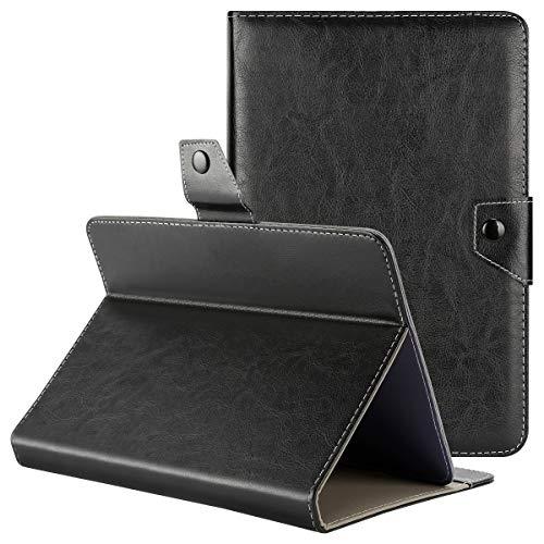 Tablet Hülle 10 Zoll Universal Qimaoo Ultra Dünn & Leightweight Flip Hülle für Tablet 10.1 Zoll Tablet Hüllen mit Standfunktion Slim Leder Case Schwarz