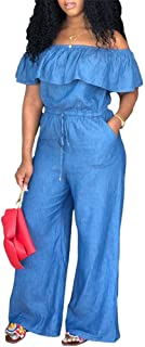 LROSEY Women's Sexy Off Shoulder Denim Jumpsuits Solid Wide Leg Long Romper Pants with Pockets Plus Size