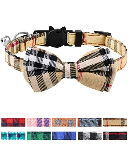 Joytale Collier Chat Réglable avec Clochette et Cravate, Mignon Colliers de Sécurité pour Chaton et Chiot, 1 Pack,Marron