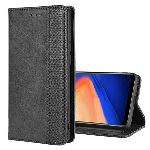 Cherfucome Schutzhülle für Xiaomi Mi A3 Hülle Leder Tasche Klapphülle Flip Hülle Xiaomi Mi A3 Handyhülle Ledertasche Handytasche Brieftasche Lederhülle [Schwarz]