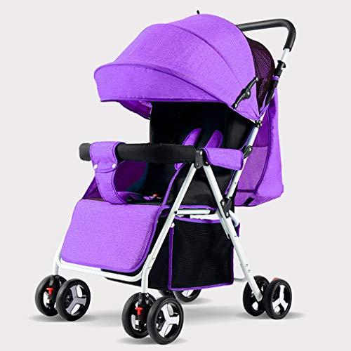 KHUY Légère Pram Voyage Poussette Poussette Carry Bag eith Rain Cover Rainer Couverture Recliner, bébé Landau, siège de Voiture, Poussette (Color : Purple)