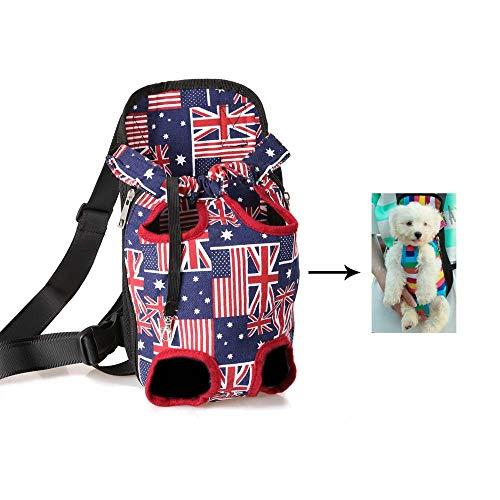 GAOXF Rucksack Für Haustier, Verstellbare Haustiertasche Out Hunde Rucksäcke Tragbar Wasserdicht Atmungsaktiv Segeltuch Modestil - Fahnendruck,M
