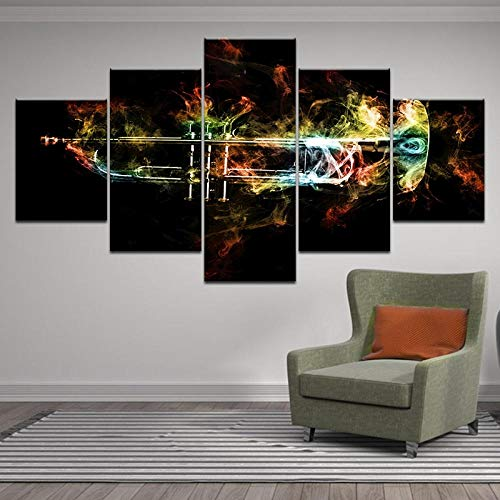 GJXYED Schilderij op canvas, doe-het-zelf muziekinstrument, doe-het-zelf muziekinstrument, wandafbeeldingen, HD-druk, afbeeldingen, 5 stuks, abstracte vlammen, trompetten, posters voor woonkamer, woonkamer, decoratie 200*100CM