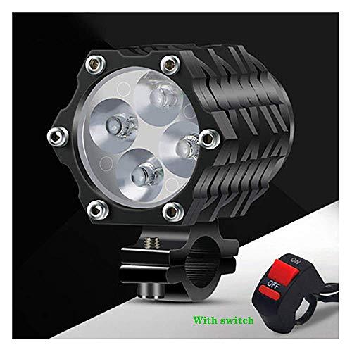 AMZ BCS 12V Motorradscheinwerfer mit Schalter, 40W Wasserdicht Motorrad Scheinwerfer Universal Roller Zusatzscheinwerfer 4 LED Lampenperlen