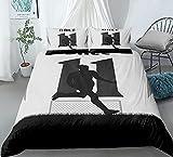 Juego de funda de edredón para cama king size, diseño de patrón de arte exquisito, ultra suave, antialérgico, no necesita planchado, ropa de cama de microfibra de lujo - No.11Bale - King 220 x 230 cm