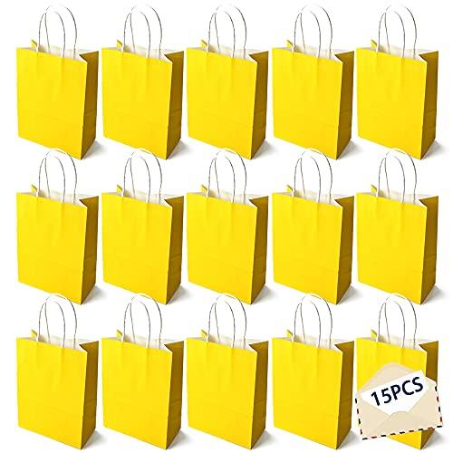 15PCS Color Bolsas Papel Kraft,Bolsas de Papel con Asas de Colores,Bolsa de Regalo Kraft con Asa,Bolsas de Fiesta de Regalo con Asas,Bolsas Papel Regalo (amarillo)