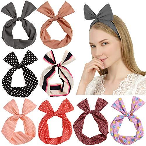 Sea Team Twist Arc Bandeaux Wired Band foulard Wrap Accessoire Hair Band (8 Packs)