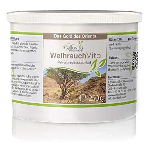 CELLAVITA | Weihrauch (Boswellia papyrifera) | Auf Schadstoffe und Belastungen geprüft | 2-Monatsvorrat 250g Pulver