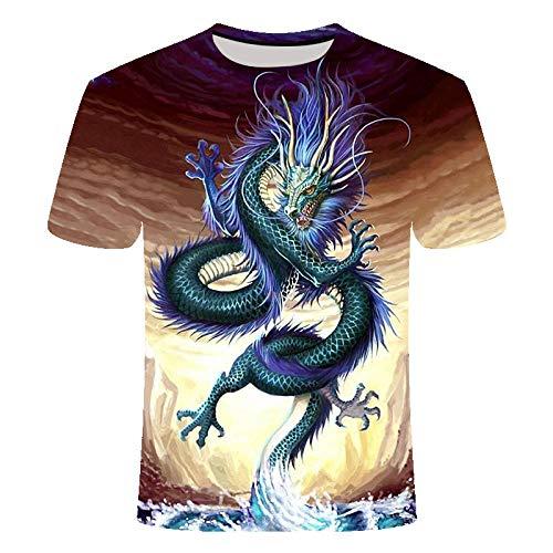 ZIXIYAWEI 3D Camisetas para Hombre,Dragon Z Animal Dragon Pattern Unisex 3D Impreso Camiseta Verano Personalizado Casual Camisetas De Manga Corta Tops-5Xl