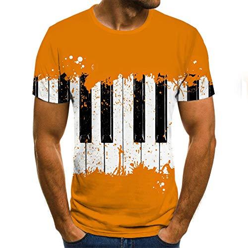 Creatieve Piano Keys Unisex T Shirt Zomer 3D Gedrukt Korte Mouw Geel Slank Korte Casual Mouw Topjes O-hals Pullover Blouse Tee