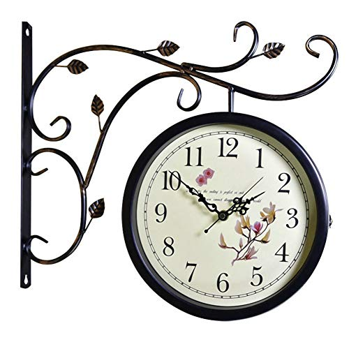 A-GHM Clock Wall Clock Double Sided Wrought Iron Bracket European Vintage Rustic Bedroom Living Room Hotel Decoration Non-Ticking Quartz Clocks 3D