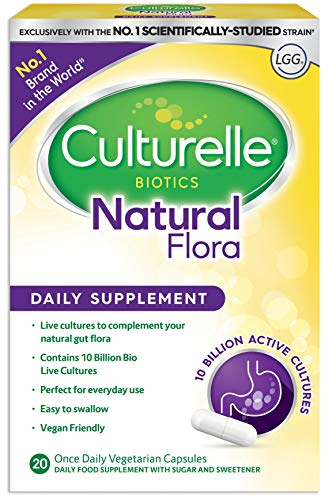 Culturelle Biotics Natural Flora Daily Supplement Aids natural gut flora - 20 Vegetarian Capsules - 10 Billion live Bacterial Cultures + Prebiotic Inulin Lactobacillus rhamnosus GG strain gluten free