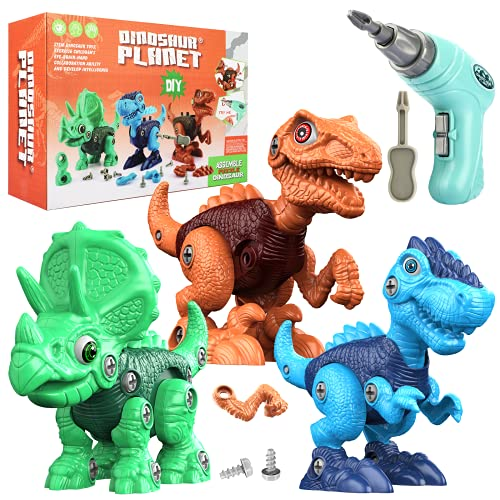 EpochAir Toys for 3 4 5 6 7 8 Year Old Boys, Dinosaur Toys for Kids 3-5, Take Apart STEM Construction Building Toys with Electric Drill, Birthday Easter Gifts for Boys Girls Toddlers