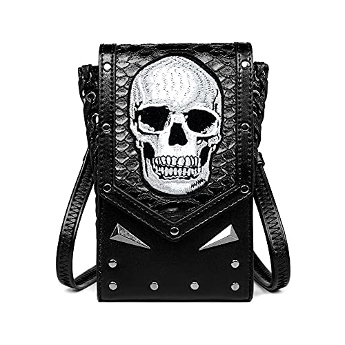 Cráneo Steampunk Riñonera Cuero Motocicleta Cintura Pack Remache Riñonera Bolsa de Hombro Bolsa de Pierna Bolsas de Teléfono Móvil