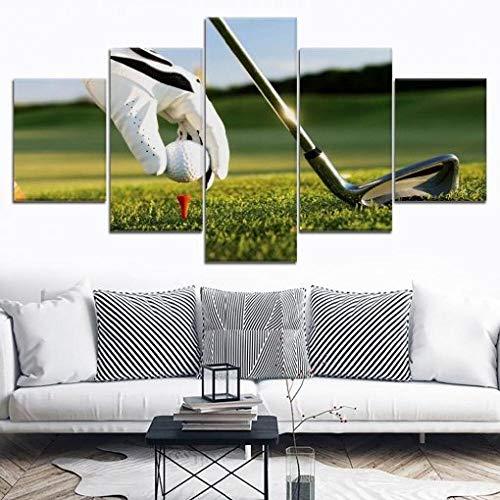 BDFDF Cuadro En Lienzo 5 Pieza Pintura En Lienzo Deporte De Equipo De Golf Arte De La Pared 5 Piezas Imagen Impresión En Lienzo Imagen De Pared Decoración del Hogar