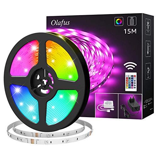 Olafus LED Strip 15M, 450er 5050 LEDs Lichtband RGB LED Streifen Selbstklebend Lichtbänder mit 24 Tasten-Fernbedienung Farbwechsel Lichter kette für Schlafzimmer Party und Feriendekoration (1x15M)
