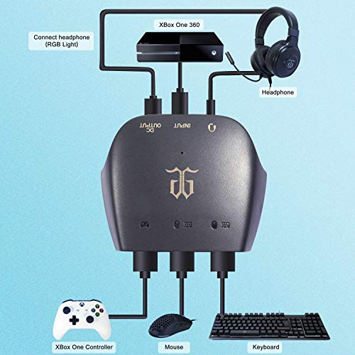 [Support 3.5mm Headset] DGG ST-C2 Keyboard and Mouse Converter Adapter for Switch/Xbox one/Xbox 360/PS4/PS3. Perfect for Games Like FPS,TPS,RPG and RTS,etc.
